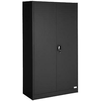 Meuble De Rangement Bureau Noir.Armoire De Rangement Metallique Placard 2 Porte Meuble De Bureau 180x90x40 Noir
