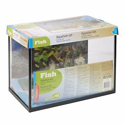 18L Or 26L Glass Aquarium Fish Tank Starter Kit Set Filter Pump Net Plant Stones