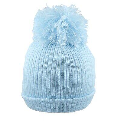 Baby Pom Pom Hat Bobble Beanie Double Knitted Boy Girl Infant Newborn-12 Months 2