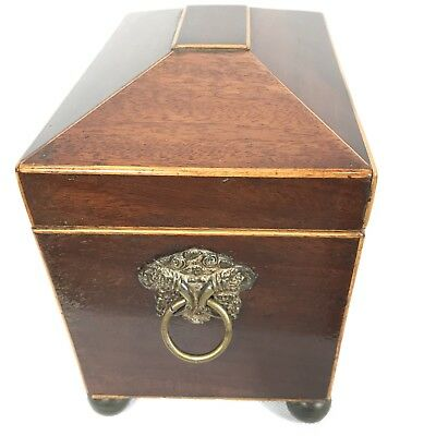 Antique Regency Mahogany Satinwood Inlaid Brass Mounted Two Section Tea Caddy 5