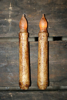 """Set of TWO - LED Burnt Ivory 6"""" - 6.5"""" TIMER Battery Operated Taper Candles"""
