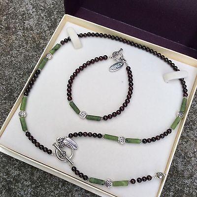 Connemara marble garnet front fastening Y necklace set Irish jewelry gift