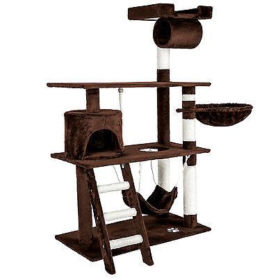 Arbre à chat griffoir grattoir geant avec hamac lit 141 cm hauteur xl marrone 2