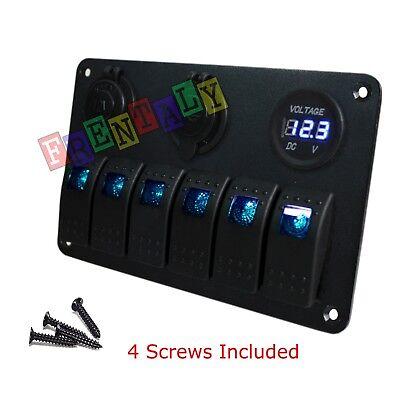 Amber 35A 3 Gang Car Rocker Switch Panel USB Socket Power Plug Voltmeter Charger