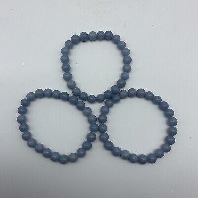 Angelite Crystal Bead Bracelet - Stretch Anhydrite 8mm Bead Bracelet 3