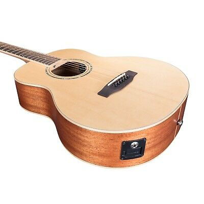 NEW Timberidge Left Handed TS-Mini Solid Spruce Top Acoustic-Electric Guitar 8