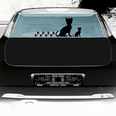 2 Katzen rechts + Pfötchen schwarz Aufkleber Tattoo Deko Folie Auto Balkon Tür 6