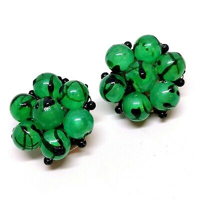 Mod Earrings Green Thermoset Gold Tone Clip On Mid Century Atomic Age Bright Mint Green 60s Earrings