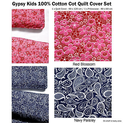 Gypsy Kids Quality 100% Cotton Baby Cot Quilt Cover with Pillowcase 2