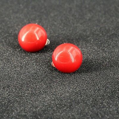 Boucles d'oreilles CLIP ON Argenté Demi Perle Rouge Orange Leger Retro J13 5
