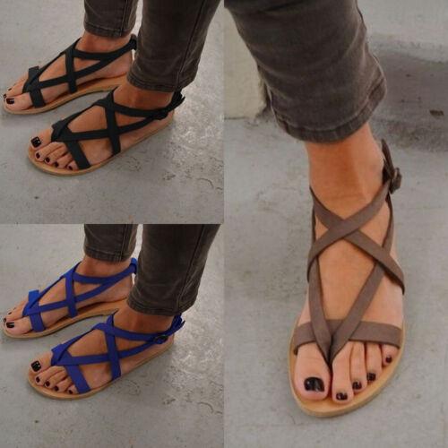 Sommer Sandalen Riemchen Zehentrenner Schuhe Sandaletten Gladiator Flach Damen xBCeodr