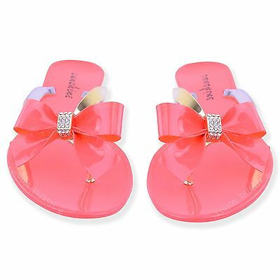 Womens Ladies Toe Bow Diamante Jelly Summer Flat Flip Flop Thong Sandals Size 2