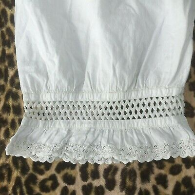 FRENCH 1800s LADY CROTCHLESS PANTALETTE DRAWERS~WHITE EMBROIDERED COTTON~NEW~S/M 2