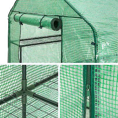 Serre de jardin metal PE plastique tente abri légume fruit plante 143x143x195cm 4