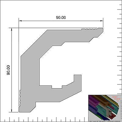 "Stuckleisten Stuckprofil 9 cm x 9 cm 14 Meter 4 I-A Ecken Dekor /""Verdal/"""