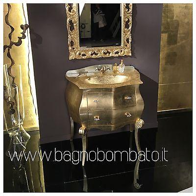 MOBILE BAGNO BOMBATO Piccolo 80 Cm Foglia Oro Argento Top Cristallo ...