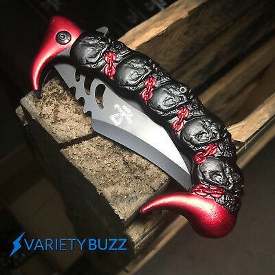 """10"""" BLACK KARAMBIT SPRING ASSISTED POCKET KNIFE Tactical Open Folding Claw Blade 4"""