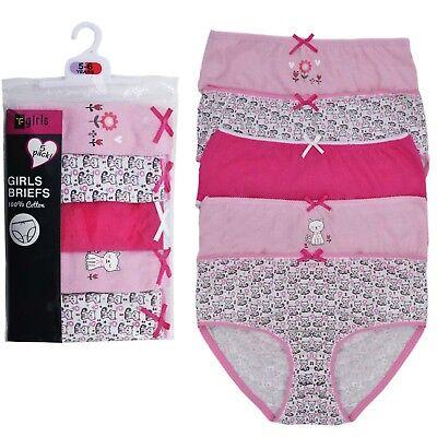 Girls 5 Pack Pairs Briefs Set Knickers Kids Multipack 100% Cotton Underwear Size 9