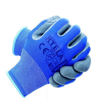 Arbeitshandschuhe Handschuhe Montagehandschuhe Latex Blau Grau Gr. 7-11 NEU TOP 6