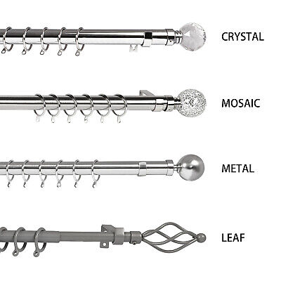 Extendable Metal Curtain Pole Chrome 19mm & 28mm Includes Finals Rings Fittings 3