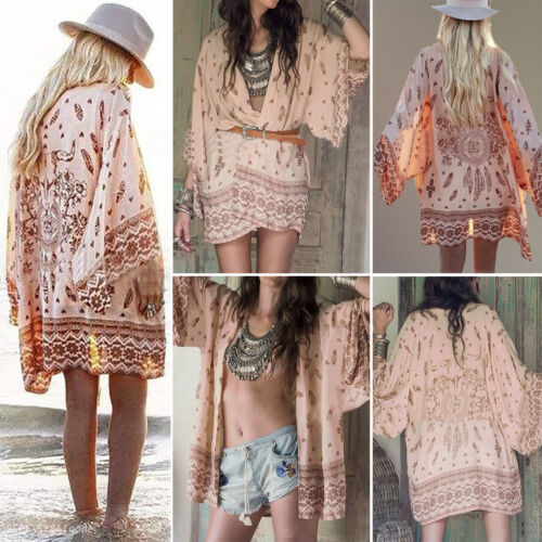 Womens Boho Floral Beach Cover Up Kimono Cardigan Jacket Tops Blouse Shawl 4