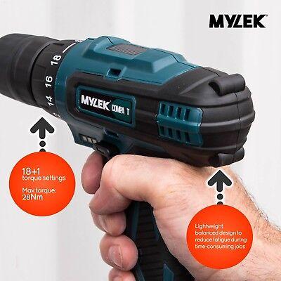Mylek 18V Cordless Drill Driver Set Combi Lithium Ion Screwdriver LED Worklight 7