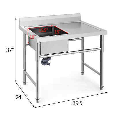 Spültisch 1 Becken L 1,0 x 0,6m Edelstahlspültisch Edelstahl Gastro Spüle Tisch