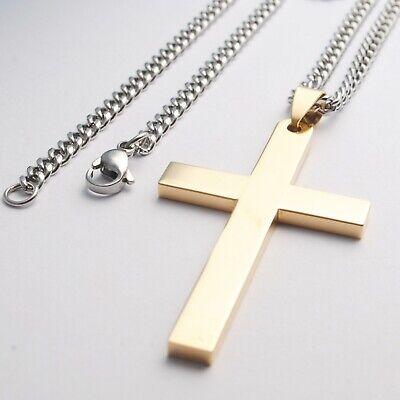 Stainless Steel Plain Silver Jesus Cross Crucifix Pendant Necklace Mens & Womens 10