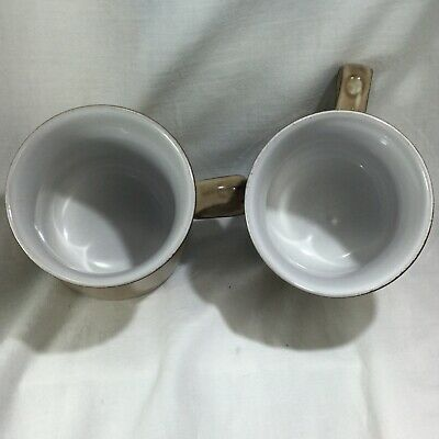 "Pair of Denby Country Cuisine Mugs Coffee Cup Brown  Tan 3 3/4"" Mid Century Look 6"