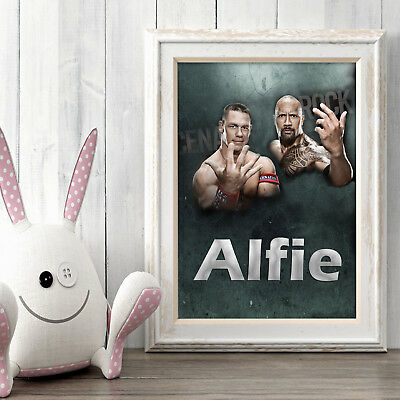 WWE Cena Rock Personalised Poster A4 Print Wall Art Custom Name✔ Fast Delivery✔ 2