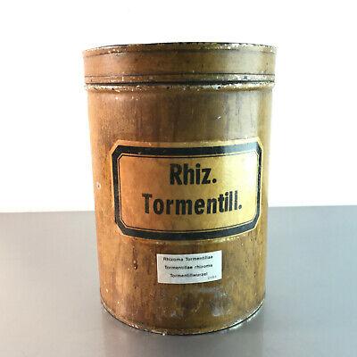 (m145) Blechdose Rhiz. Tormentill. 18 cm APOTHEKERDOSE Blech Metall Dose 4