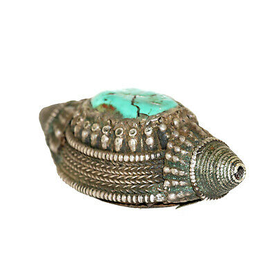 (2549) Antique element of headdress Ladakh/Tibet. Turquoises and silver 3