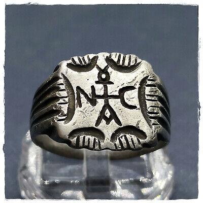 ** MONOGRAM CROSS ** ancient SILVER BYZANTINE RING ! 6,65g 2