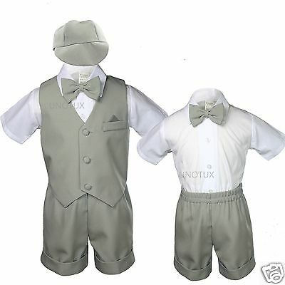 4pc Boys Toddler Formal Baby White Shorts Set With Colors Bow Tie Hat S-4T