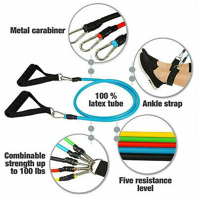 New Resistance Bands Workout Exercise Yoga 11 Piece Set Crossfit Fitness Tubes 2