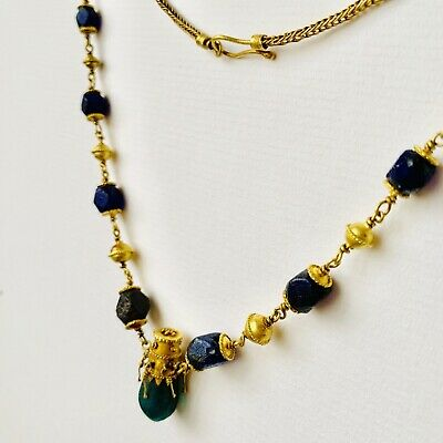 BEAUTIFUL Ancient Roman Gold Pendant Necklace With Green And Blue Glass Beads 8