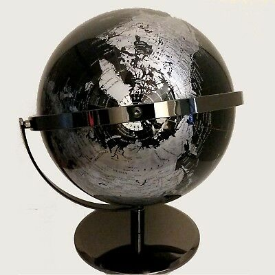 STUNNING HIGH QUALITY Double Axle World Globe Black Chrome Home Decor Gift 30cm 6