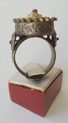 Amazing Large And Huge Post-Medieval Silver Ring With Gold Plated # 763 2