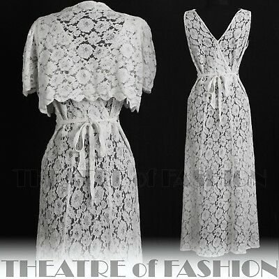 DRESS 30s WEDDING LACE JACKET 20s VINTAGE 40s GATSBY DECO CROCHET GODDESS ICON 12