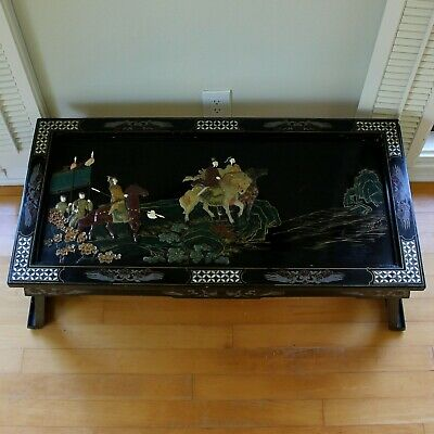 Old Tianjin Chinese Carved Inlaid Coromandel Lacquer Folding Table 2
