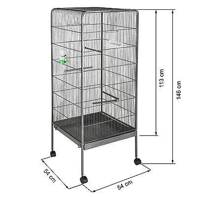 Volière cage à oiseaux canaries perruches perroquets metal 146x54x54cm 6