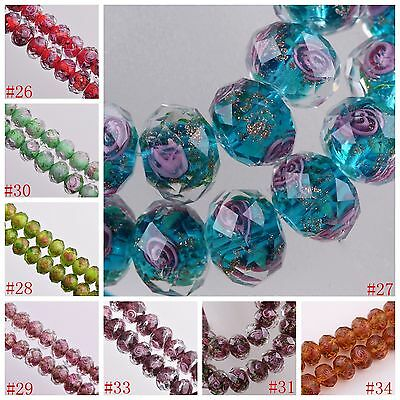 12x8mm Lampwork Glass Round Faceted Charms Loose Spacer Beads Jewelry Findings 4