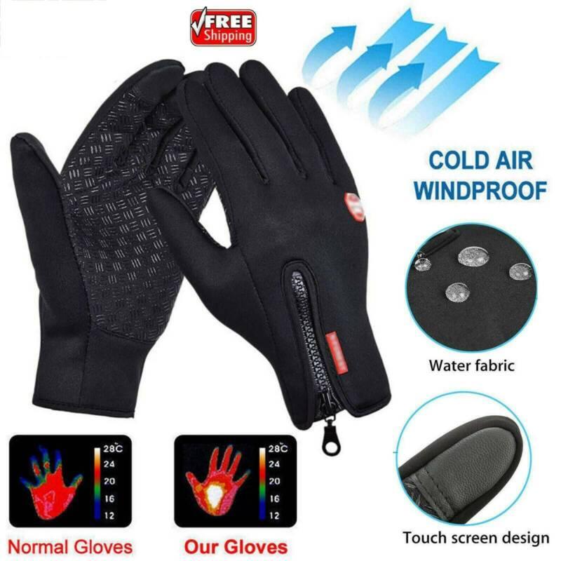 Winter Warm Windproof Waterproof Anti-slip Thermal Touch Screen Gloves Zipper UK 5