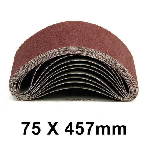 40x Sanding Belts 75X457 mm Mixed Grade 40 60 80 120 Grit Fit Power Sander