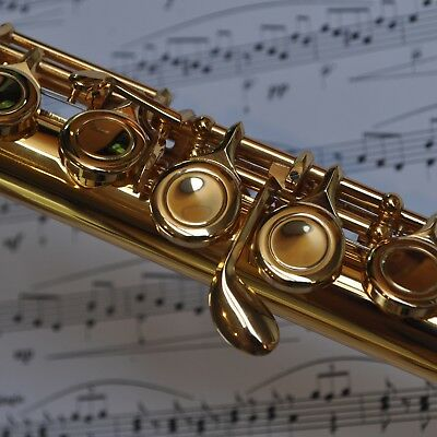 FLUTE 24k Gold-Plated 16 Key C-Foot  • BRAND NEW • Student or Intermediate • 5