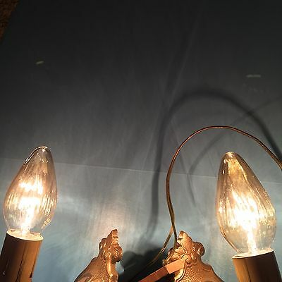 2 Art Deco Electric Candle Wall Sconces Pair Beautiful Vintage Wired 3