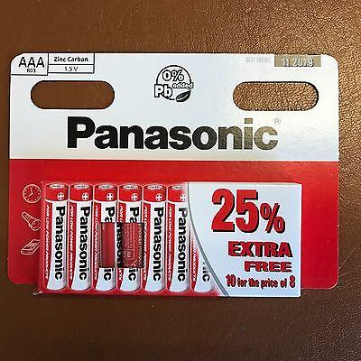 10 x AAA Genuine PANASONIC Zinc Carbon Batteries - New LR03 1.5V MN2400 02/2020
