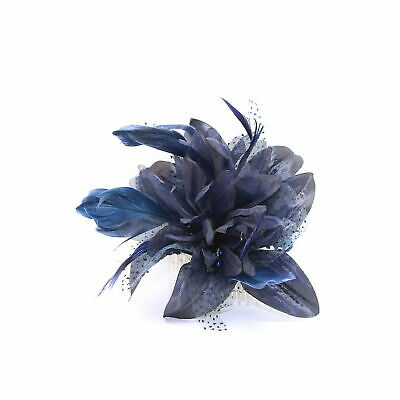 Navy blue fascinator comb with chiffon flower and feather tendrils 4