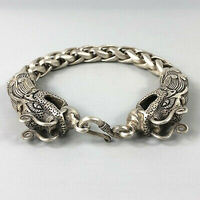 Exquisite Chinese Rare Collectible Tibet Silver Handwork Dragon Amulet Bracelet 4