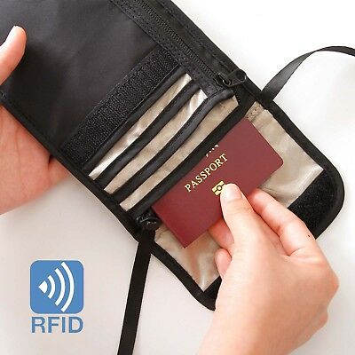 Travel Neck Pouch Passport Holder RFID Blocking Wallet ID Cards Orgainzer Bag 4